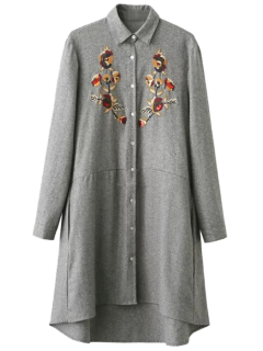 Embroidered Long Sleeve Tunic Shirt Dress - Gray S