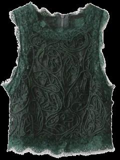 Camiseta Sin Mangas Festoneada Recortada Encaje  - Verde Negruzco S