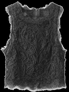 Camiseta Sin Mangas Festoneada Recortada Encaje  - Negro S