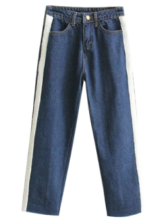 Pantalones Vaqueros Deshilachados Pierna Ancha Apliques  - Marina De Guerra S