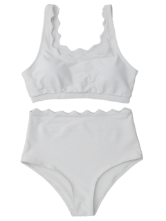 Scalloped U Neck High Waist Bikini Set - White L