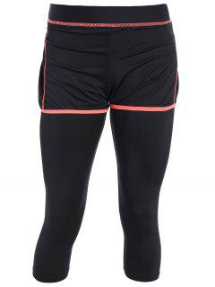 Tight Fit Capri Leggings With Shorts - Black And Orange M
