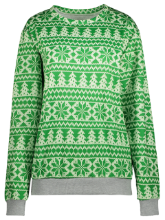 Snowflake Patterned Sweatshirt - Green Xl