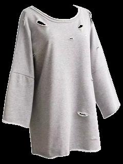 Boyfriend Drop Shoulder Ripped Sweatshirt - Light Gray