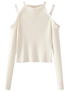 Cold Shoulder Banded Top En Maille - Blanc S