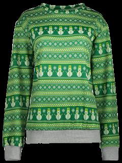 Snowman Patterned Sweatshirt - Green L