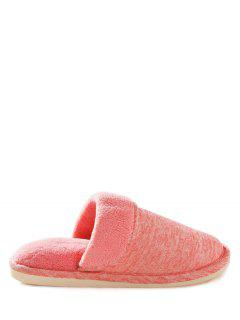 Cotton Fabric Flat Heel Flocking House Slippers - Pink Size(39-40)