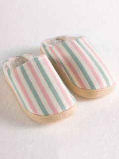 Flat Heel Striped Flocking House Slippers - Pink Size(40-41)