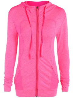 Marlled Hooded Active Sweat Jacket - Rose Red S