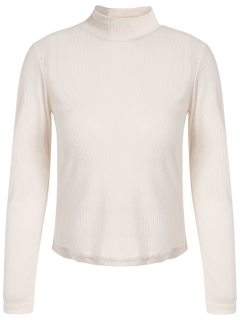 See-Through Cropped T-Shirt - Apricot M