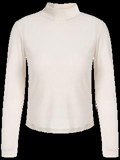 T-shirt Transparent Court à Col Cheminée Et à Manches Longues - Abricot S