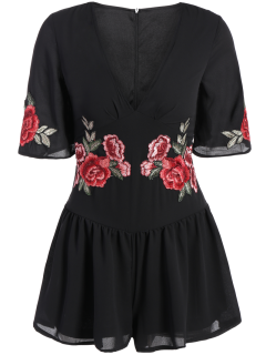 Fitting Floral Embroidered Romper - Black M