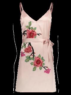 Robe Mini à Bretelle Avec Broderie Florale - Rose Clair S