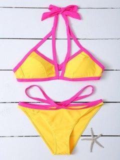 Contrastant Canalisé Strappy Bikini - Jaune M
