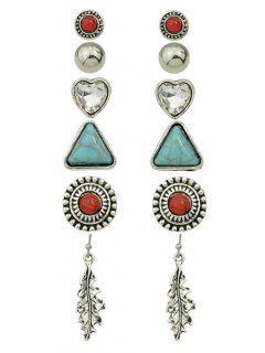 Faux Turquoise Rhinestone Heart Earring Set - Silver