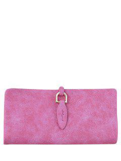 Metal Embellished Bi Fold Clutch Wallet - Rose Red