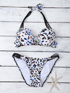 Riemchen Halter Bowknot Leopard-Bikini-Satz - Weiß L