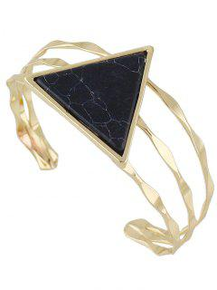 Faux Gem Triangle Cuff Bracelet - Black