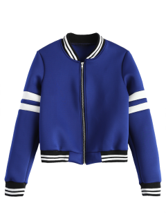 Striped Sleeve Bomber Jacket - Blue S