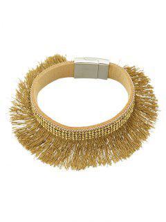 Rhinestone Faux Leather Tassel Bracelet - Brown