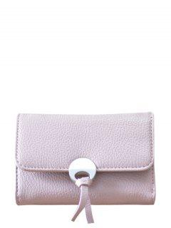 Metal Embellished Tri Fold Small Wallet - Pink