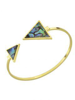 Artificial Gem Triangle Vintage Cuff Bracelet - Golden