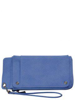 Faux Leather Wristlet Wallet - Blue