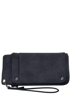 Faux Leather Wristlet Wallet - Black Grey