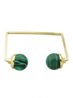 Artificial Gem Ball Cuff Bracelet - Green
