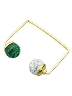 Artificial Gem Ball Cuff Bracelet - White And Green
