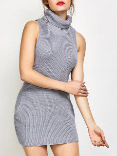 Sleeveless Turtle Neck Sweater Dress - Gray M