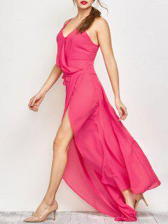 High Slit Asymmetric Prom Dress - Sangria M