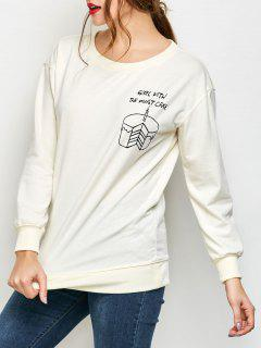 Graphic Skew Neck Oversized Sweatshirt - Off-white M
