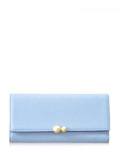 Textured Tri Fold Clutch Wallet - Light Blue