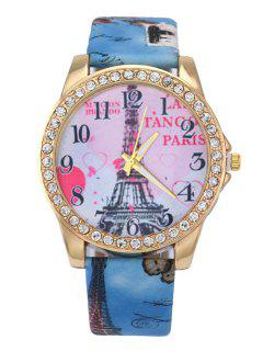 Faux Leather Band Eiffel Tower Quartz Watch - Blue