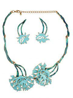 Rhinestone Flower Vintage Necklace And Earrings - Blue