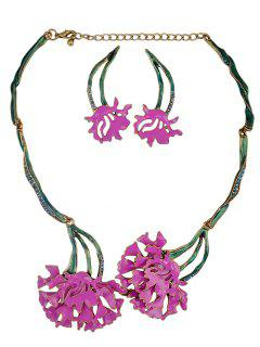 Rhinestone Flower Vintage Necklace And Earrings - Tutti Frutti