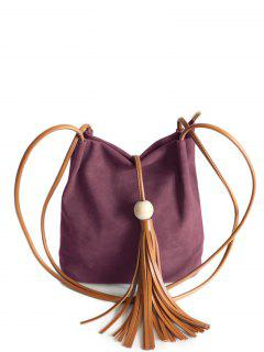 Tassel Wood Bead Shoulder Bag - Purplish Red