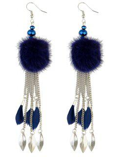 Feather Fuzzy Ball Drop Earrings - Silver And Blue