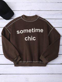 Mock Neck Letter Sweatshirt - Coffee