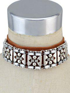 Faux Leather Rhinestone Vintage Choker Necklace - Brown