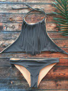 High Neck Double Side Fringed Bikini - Gray S