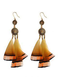 Rhinestone Flower Feather Bohemian Drop Earrings - Golden