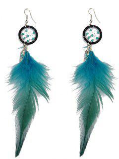 Feather Adorn Bohemian Drop Earrings - Blue