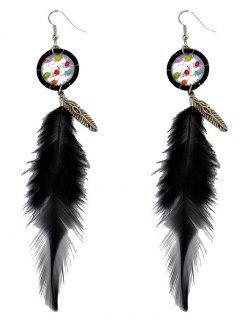 Feather Adorn Bohemian Drop Earrings - Black