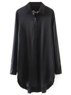 Plum Blossom Embroidered Sateen Shirt - Black S