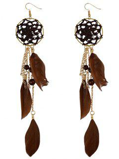 Beads Feather Bohemian Drop Earrings - Brown