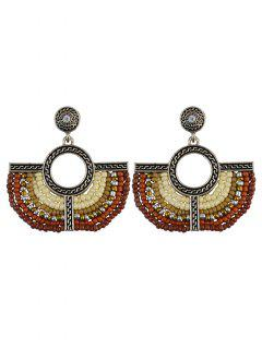Beads Geometric Vintage Drop Earrings - Brown