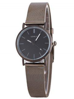 Metal Mesh Band Analog Wrist Watch - Silver