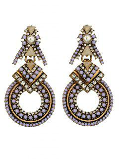 Faux Pearl Rhinestone Beaded Geometric Earrings - Purple